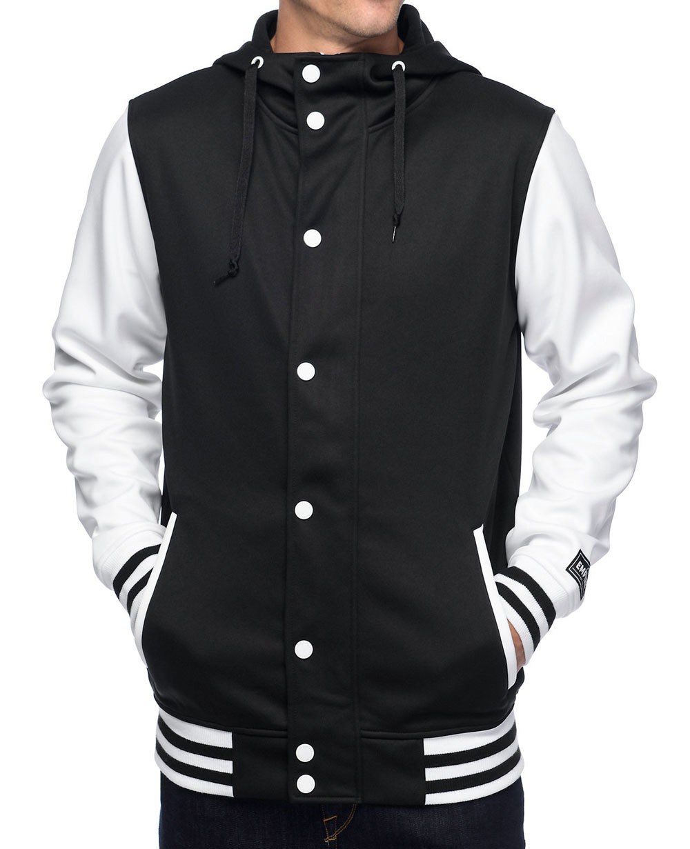 All Black &amp White Varsity Tech Fleece Jacket