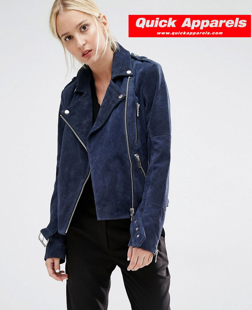 Best Selling Women Biker Jacket in Navy Blue Suede