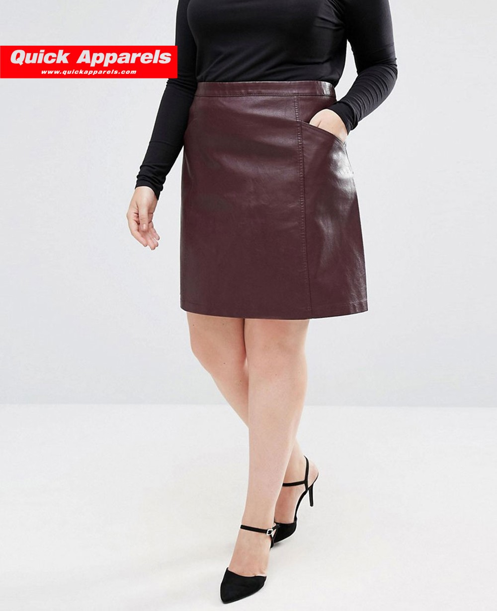 leather look a line skirt dress ala