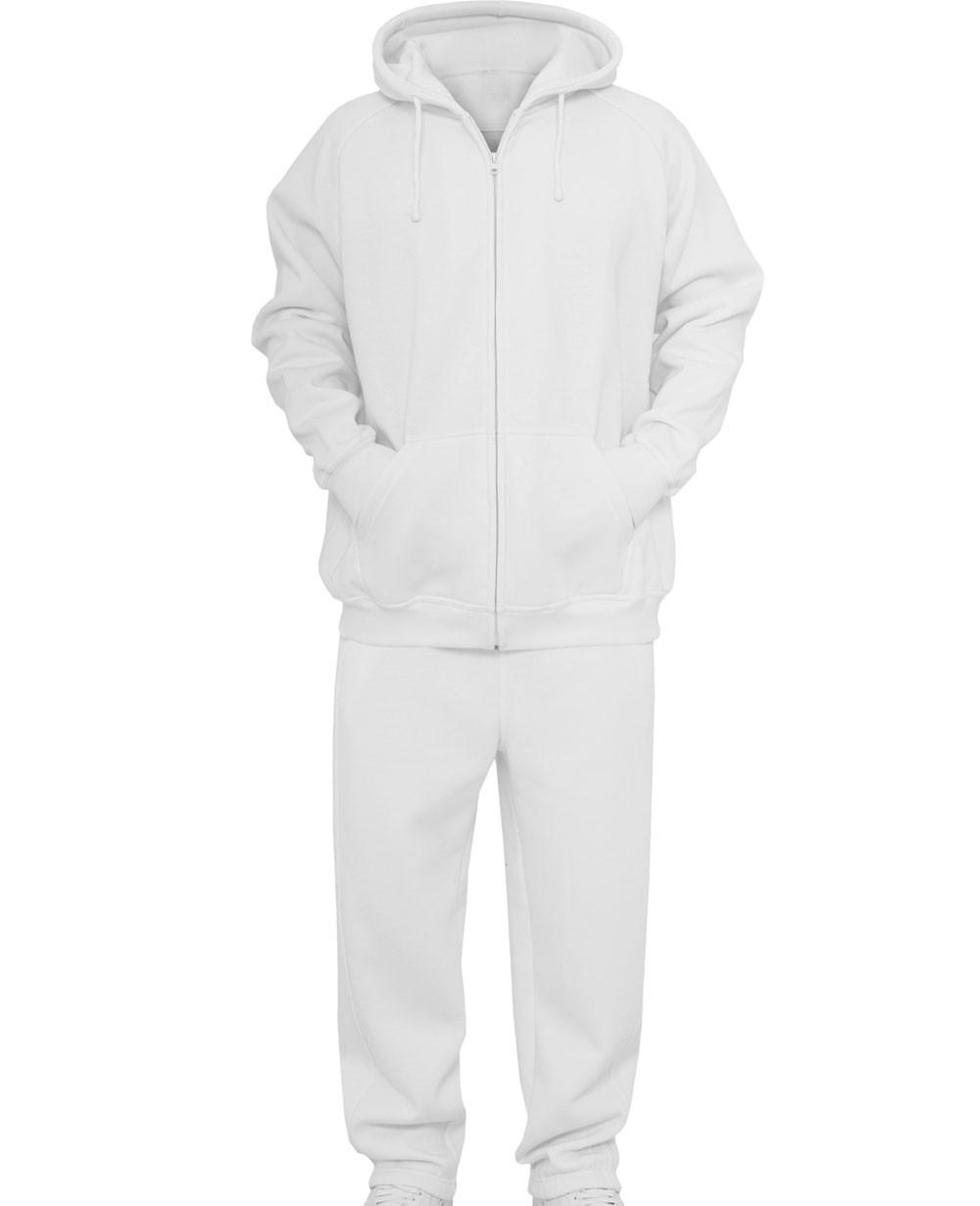 Urban Zipper Classics Blank Suit Men Sweat Suit White