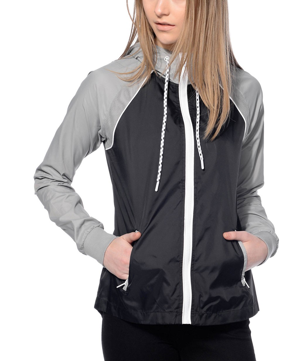 Women Raglan Sleeve Grey & Black Windbreaker Jacket