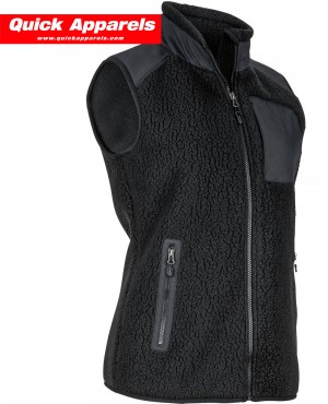 Women Sleeveless Black Zip Up Fleece Jacket