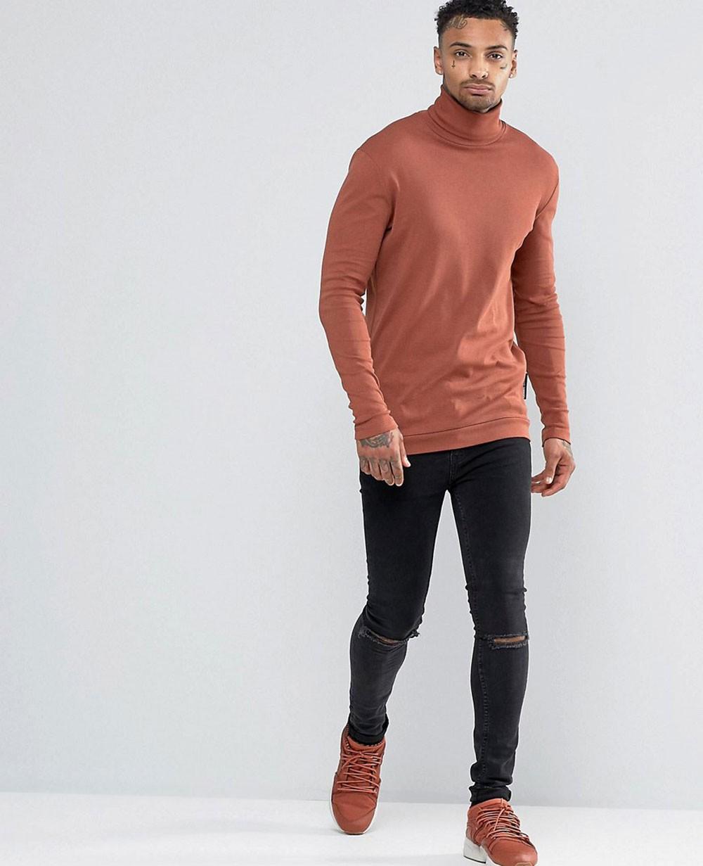 Men Long Sleeve Roll Neck T Shirt