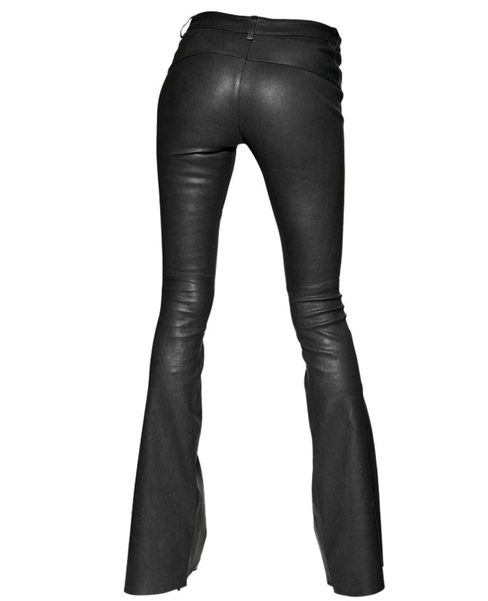 RETRO BOOTCUT LEATHER PANTS FOR WOMEN