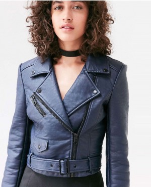 Women's belted leather jacket
