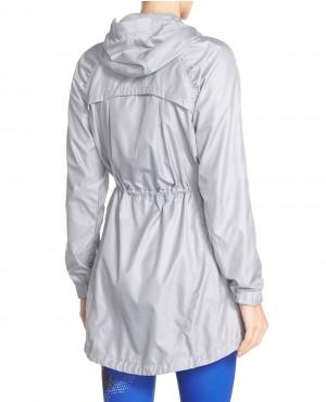 Women Long Zipper Black Windbreaker Jacket