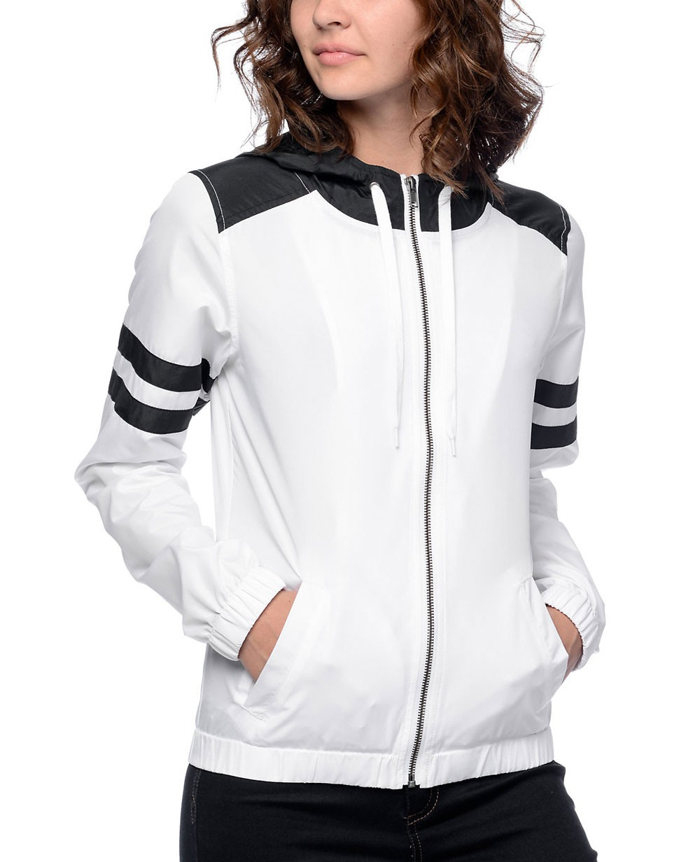 Women Black Amp White Stripe Windbreaker Jacket