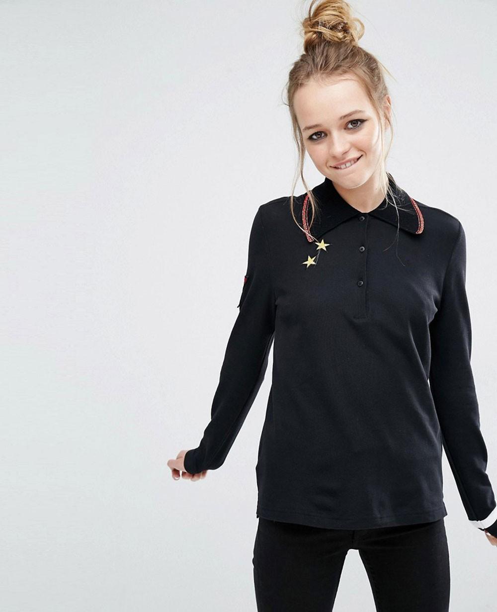 All Black Long Sleeve Women Polo Shirt