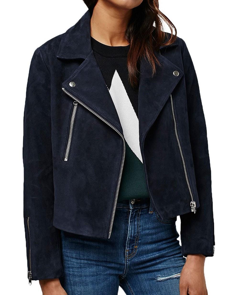Navy Blue Suede Women Moto Leather Jackets