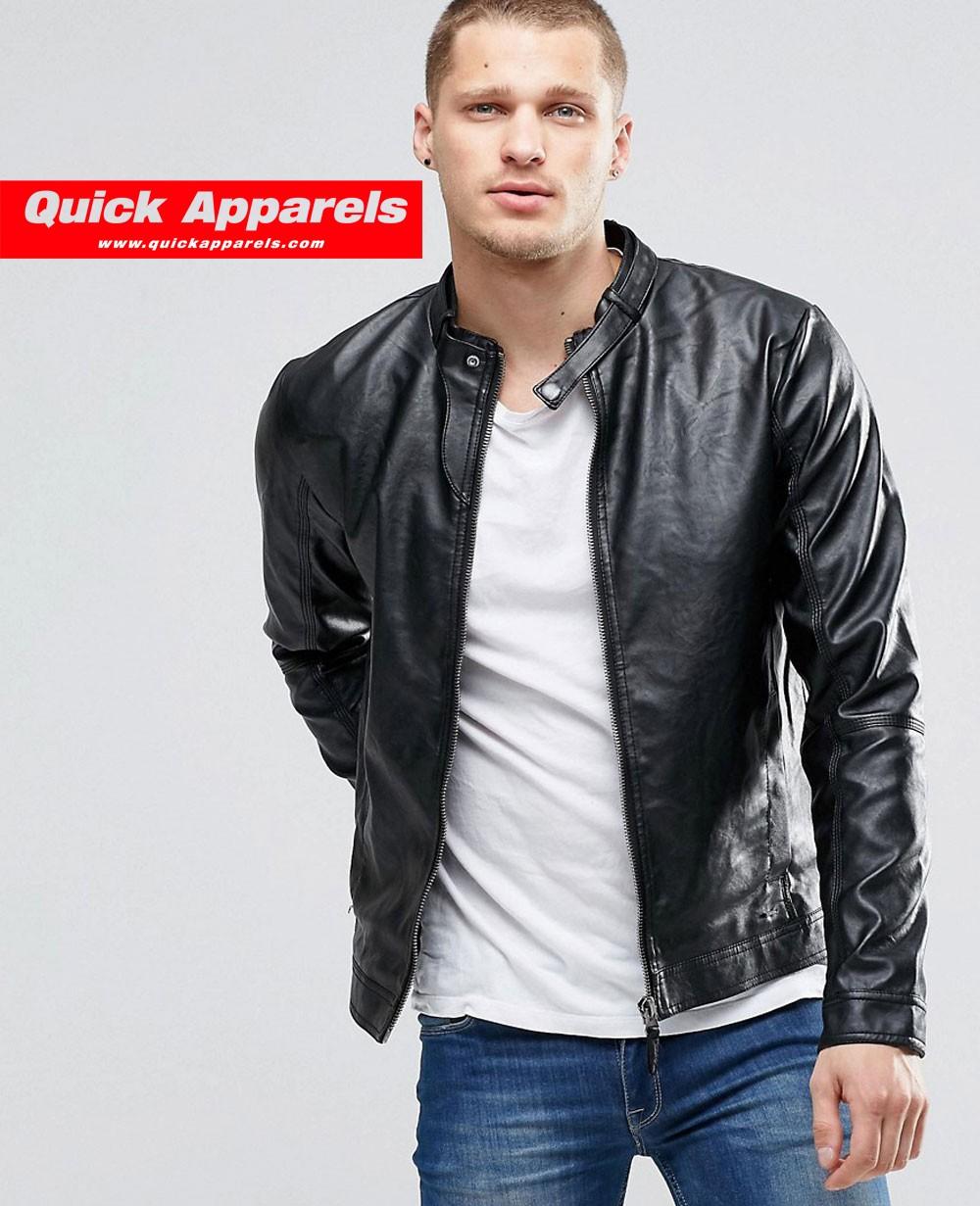 9f581f2a0 Blend Faux Leather Biker Zip Thru in Black Men