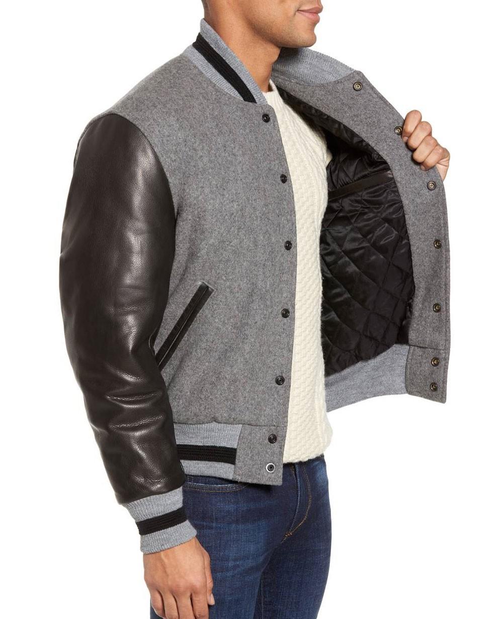 59b88931e Classic Wool & Leather Sleeve Varsity Baseball Jacket