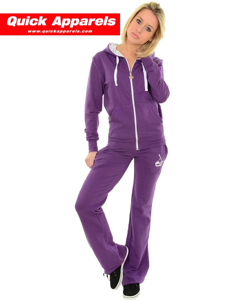 Hood Babes Jogging Suit purple white 327c3256efa0