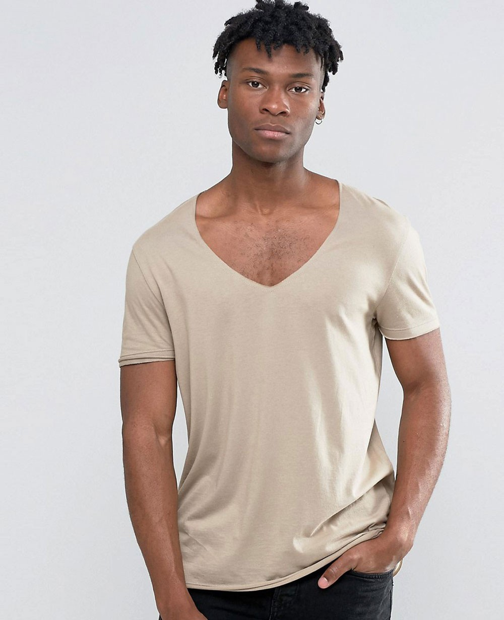 cd7e6586 Longline Short T-Shirt With Curved Hem And Raw V-Neck In Drape Fabric