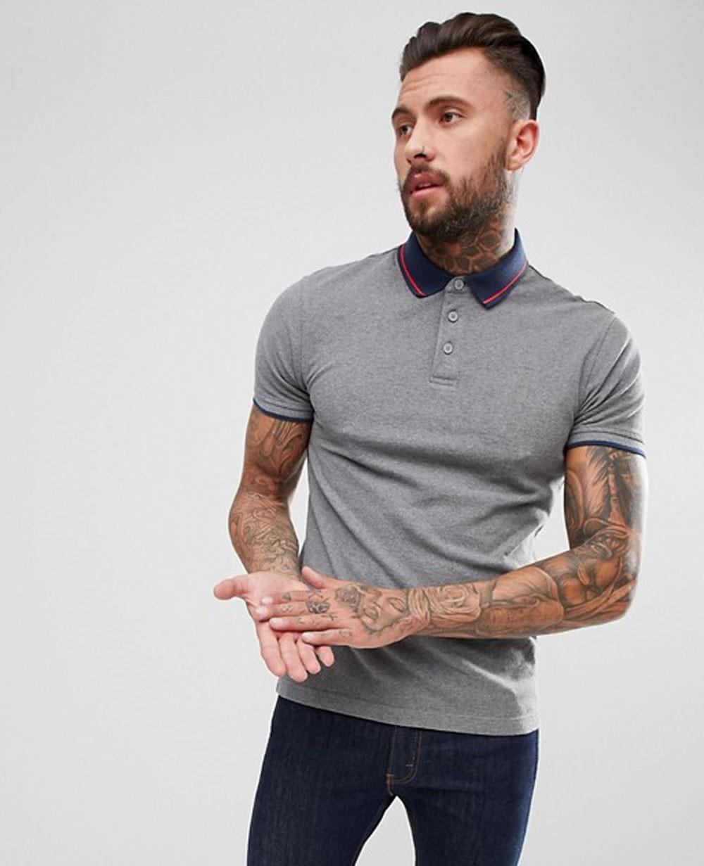 b30ccada Men Grey Longline Muscle Polo Shirt With Curved Hem Tee
