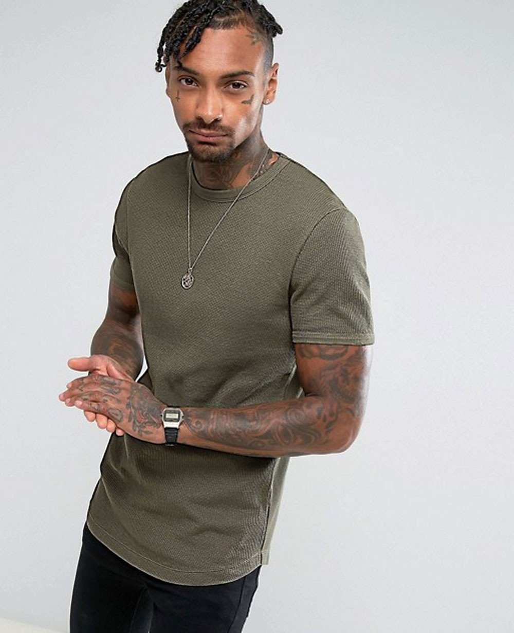 c22bfbe304 Men Longline Muscle With Curved Hem In Waffle In Khaki T Shirt