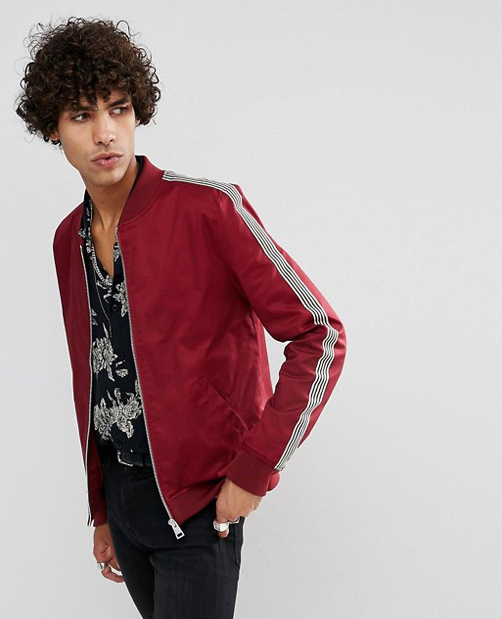 abd5726f4 Muscle Fit Bomber Jacket With Side Stripe in Red