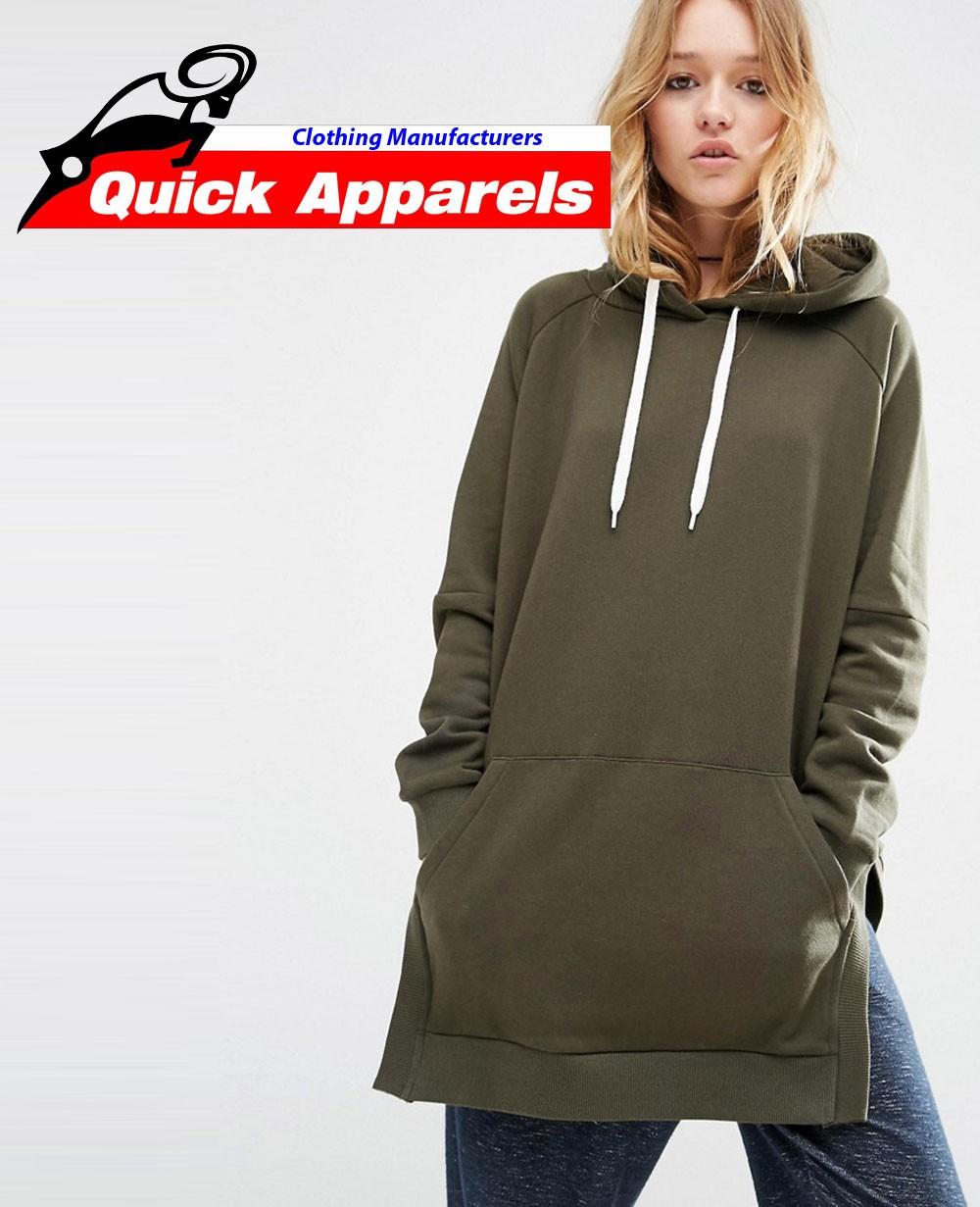 Pullover Women Hoodie in Longline Oversized Fit with Side Splits 9683c909d