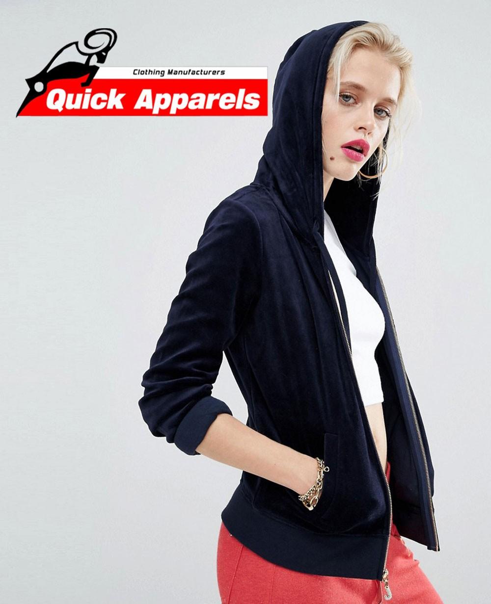 5ea5d89c Red Bling Velour Jacket With Zip Up Women Hoodie