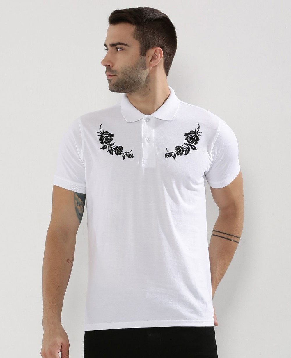 Rose Embroidery Polo T Shirt