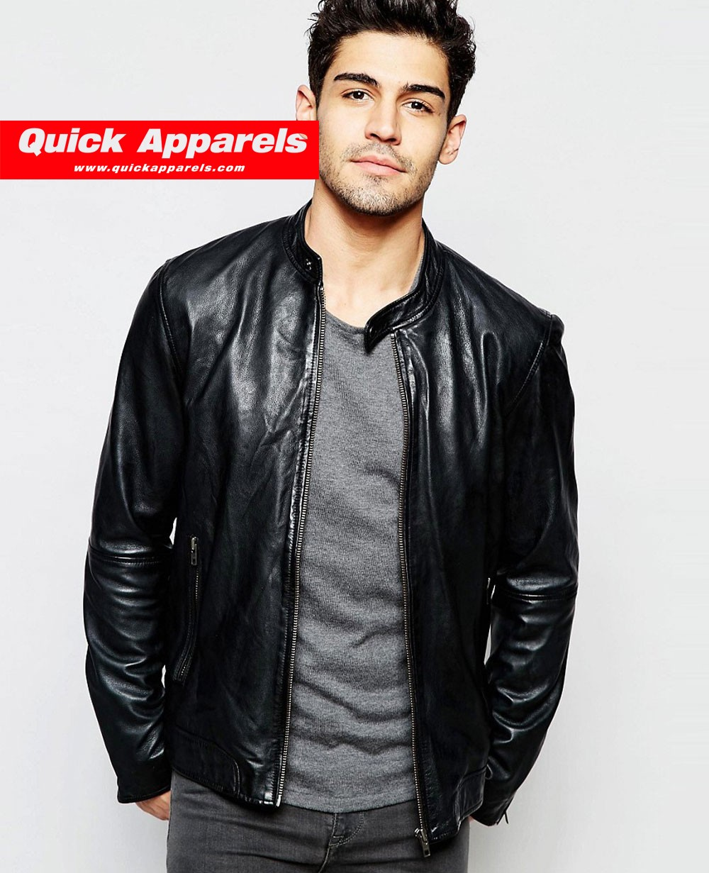 5f3b948c9 Selected Homme Leather Jacket Black