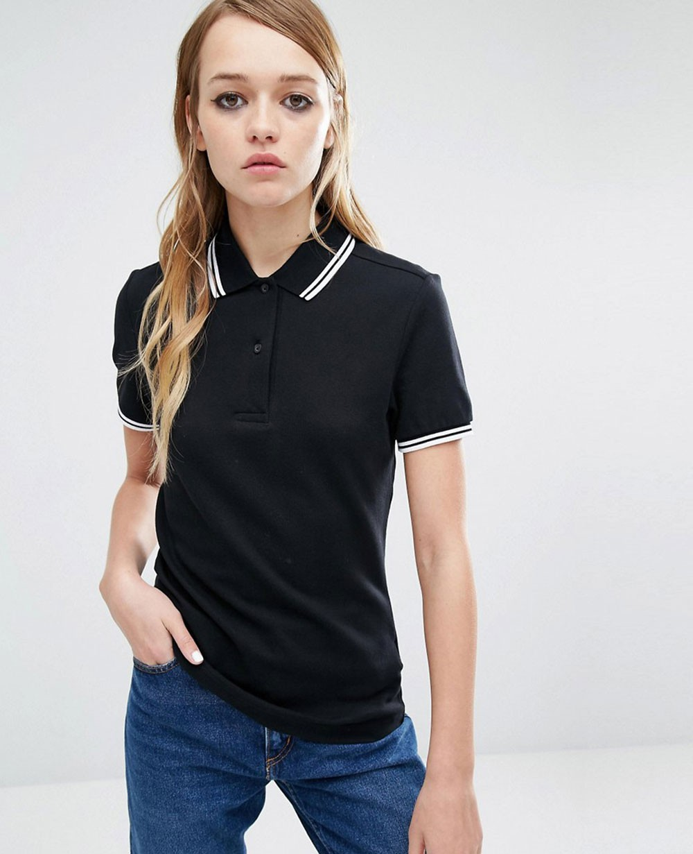 Twin Tipped Women Black Polo Shirt