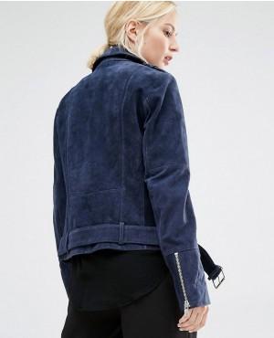 Black Rivet Leather Long Asymmetric Moto Jacket