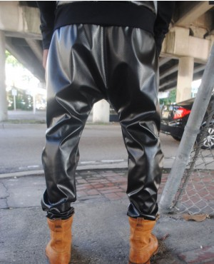 6ee002705f85 Black Perforated Leather Drop Crotch Harem Pants Premium-Buffalo-Men s- Leather-Pants