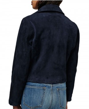 4c0eec9910cb5f Navy Blue Suede Women Moto Leather Jackets PLUS-SIZE-MILWAUKEE-LEATHER -DOUBLE-SIDE-TAB-ZIP-