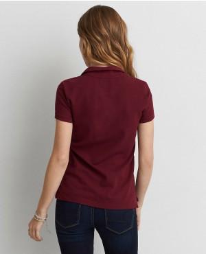 ... Burgundy-Style-Women-Polo-Shirt 024ac1538b