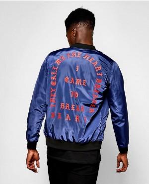 Faux Leather Varsity Bomber Jacket