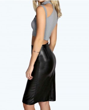 b16f3d14c FAUX LEATHER PENCIL SKIRT New-Look-Easy-Mod-Faux-Suede-Leather-Skirt