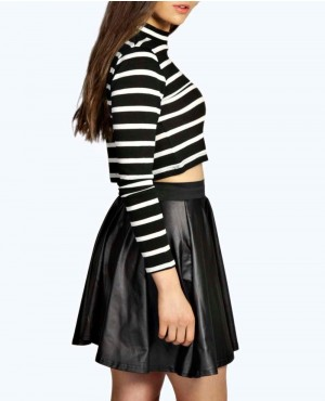 01693da1f LEATHER LOOK COATED SKATER SKIRT New-Look-Easy-Mod-Faux-Suede-Leather-Skirt
