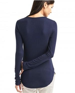 cef8ecd5b Women Ribbed V-Neck Long Sleeve Top T-Shirt SKINNY-FIT-STRETCH-POLO-SHIRT